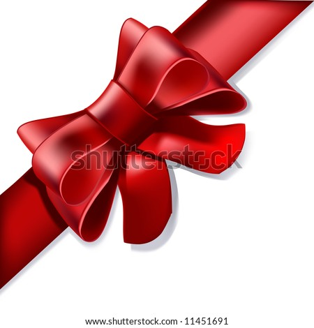 An illustration of a pretty red presentation bow for use as a corner element for your design.