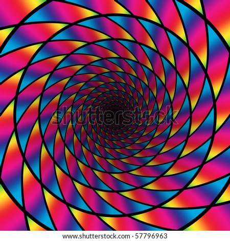 An illustration of a rainbow decorated tunnel disappearing into the distance - stock photo