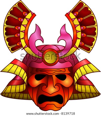 An illustration of a red orange and magenta fearsome samurai mask - stock photo