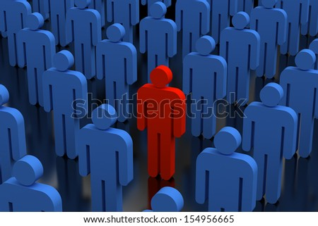 An illustration of a red person in a crowd of blue people - stock photo