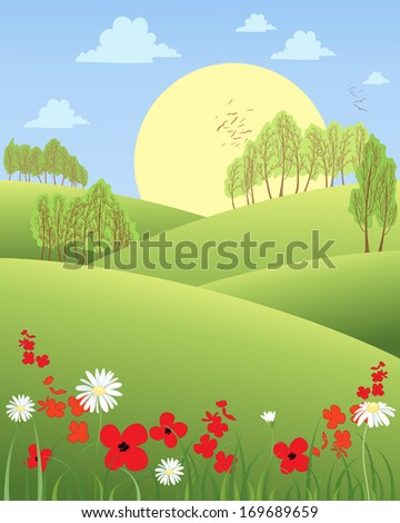 an illustration of a rural summer morning with rolling hills wildflowers and trees with a big yellow sun