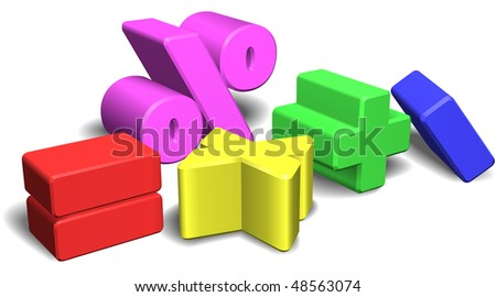 An illustration of a set of colorful 3d math symbols or signs - stock photo