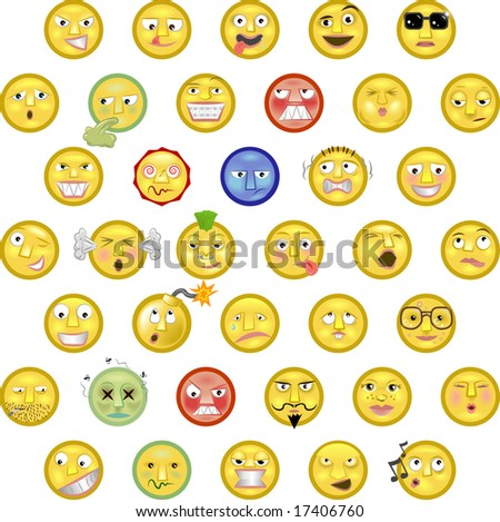 An illustration of a set of emoticon smileys - stock photo