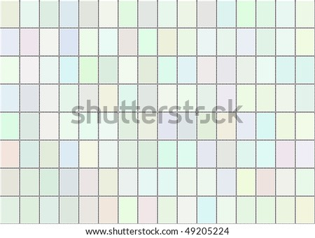 An illustration of a sheet of blank postage stamps in pastel shades - stock photo