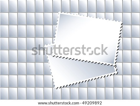 An illustration of a sheet of blank postage stamps in with larger stamps creating an area for text - stock photo