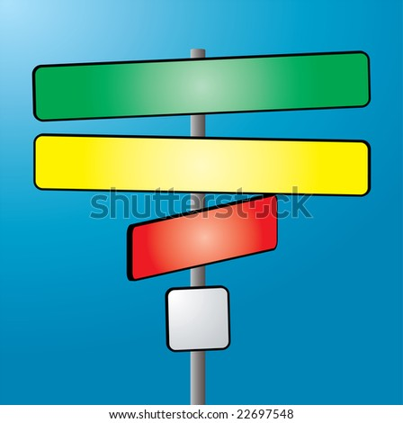 An illustration of a sign post in color against a blue sky - stock photo