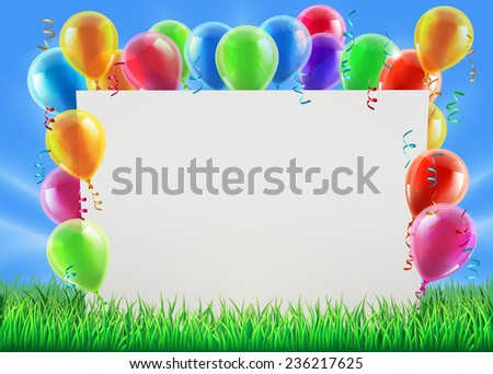 An illustration of a sign surrounded by party balloons in a field on a bright spring or summer day - stock photo