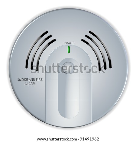 An illustration of a smoke and fire white house detector / Smoke and fire detector - stock photo