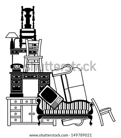 An Illustration Of A Stack Of Furniture And Other