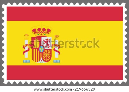An Illustration of a Stamp with the Flag of Spain - stock photo