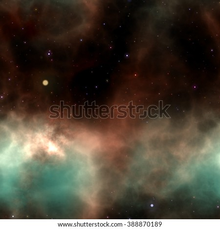 An illustration of a star field and nebula. Aqua and red clouds are the main focus. This image was created with 3d software and not using any imagery from NASA. - stock photo