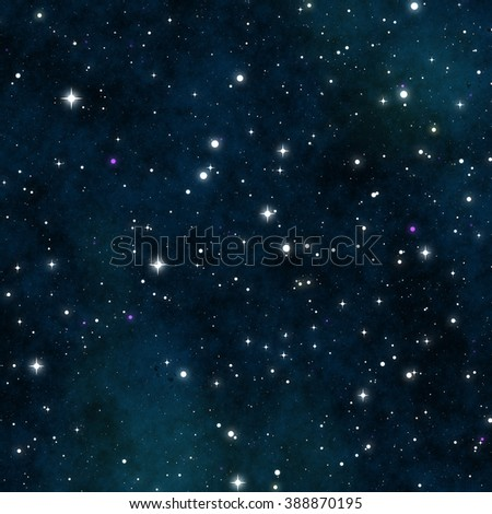 An illustration of a star field and nebula. Blue and green clouds soften the night sky. This image was created with 3d software and not using any imagery from NASA. - stock photo