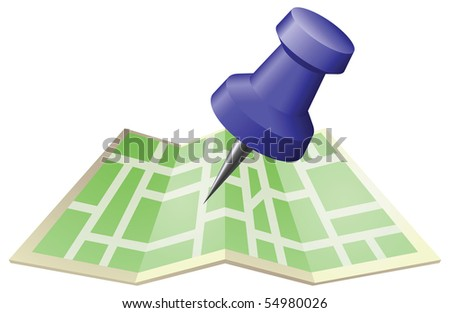 An illustration of a street map with drawing push pin. Can be used as an icon or illustration in its own right. - stock photo