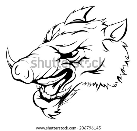 An illustration of a strong angry boar mascot roaring - stock photo