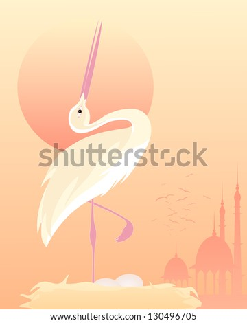 an illustration of a stylized exotic bird in an elegant pose on a nest with mughal architecture and a setting sun - stock photo