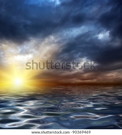 an illustration of a sunrise or sunset in the sea or ocean