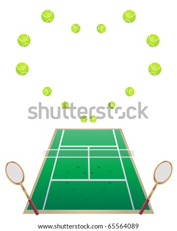 an illustration of a tennis court with tennis rackets and tennis balls in a heart shape