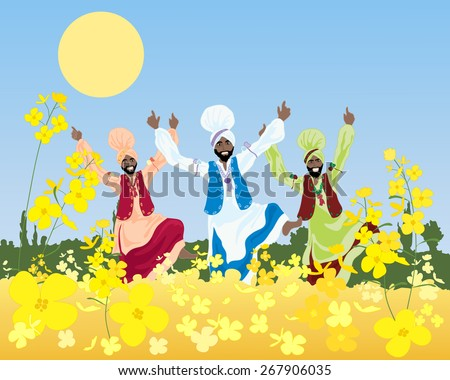 Punjabi culture stock images royalty free images vectors an illustration of a three colorful bhangra dancers in a punjabi landscape with mustard crop under malvernweather Choice Image