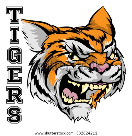 An illustration of a tiger sports mascot head with the word tigers - stock photo