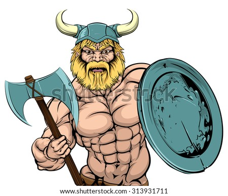 An illustration of a tough looking Viking Warrior mascot with axe and shield - stock photo