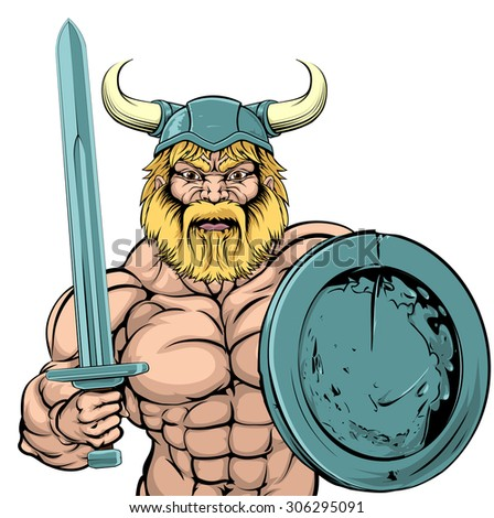 An illustration of a tough looking Viking Warrior mascot with sword and shield - stock photo