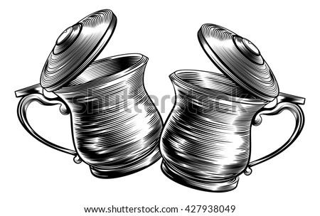 An illustration of a traditional beer stein or tankards chinking together in a prost toast in a woodcut style. Oktoberfest concept - stock photo