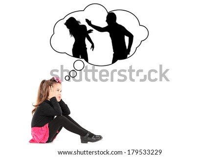 An illustration of a traumatized little girl recalling her parents fighting isolated on white background - stock photo
