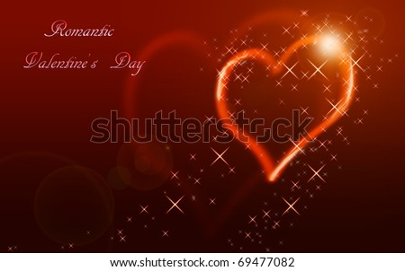 An illustration of a Valentine's Heart among the stars. - stock photo