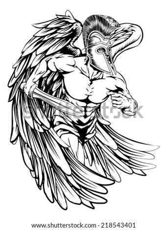 An illustration of a warrior angel character or sports mascot  in a trojan or Spartan style helmet holding a sword  - stock photo