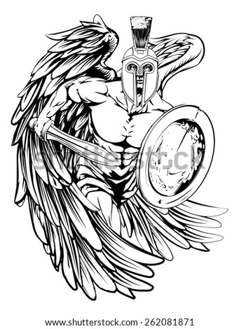 An illustration of a warrior angel character or sports mascot  in a trojan or Spartan style helmet holding a sword and shield  - stock photo
