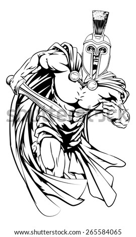 An illustration of a warrior character or sports mascot  in a trojan or Spartan style helmet holding a sword  - stock photo