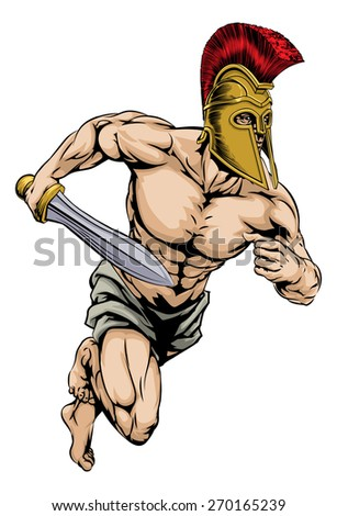 An illustration of a warrior or gladiator character or sports mascot  in a trojan or Spartan style helmet holding a sword  - stock photo