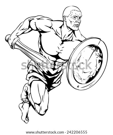 An illustration of a warrior or gladiator man character or sports mascot holding a sword and shield - stock photo