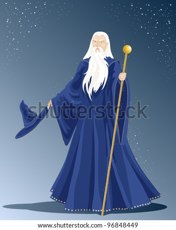 an illustration of a white haired wizard in a long blue cloak with hat and a golden staff under a starry sky - stock photo