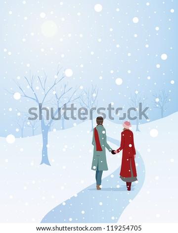 an illustration of a winter scene with a warmly dressed couple walking through a snowy park holding hands - stock photo