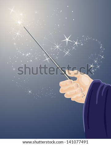 an illustration of a wizards hand holding a magic wand with sparkles and stars on a dark blue background - stock photo
