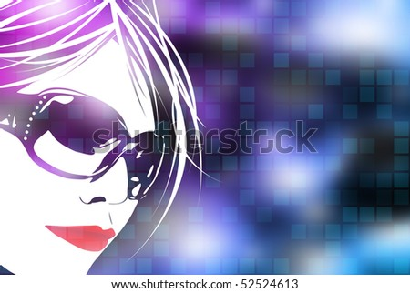 An illustration of a woman's face over a blue digital background with square shapes. - stock photo