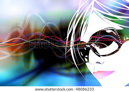 An illustration of a woman's face over a multicolored rainbow background. - stock photo