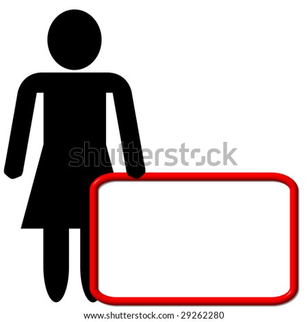An illustration of a woman with a empty white board to put a message