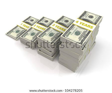 An illustration of a 4 year investment, with a stack of one hundred dollar bills growing larger by the passing years. - stock photo