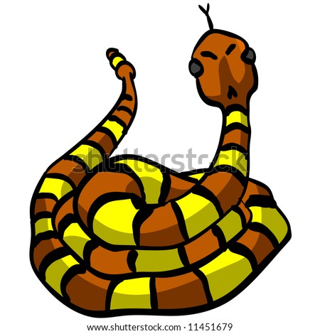 An illustration of a yellow and orange snake looking cute and threatening at the same time.