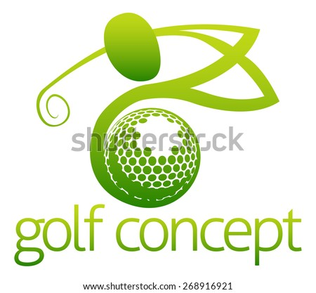 An illustration of an abstract golfer swinging his golf club and golf ball flying concept design - stock photo
