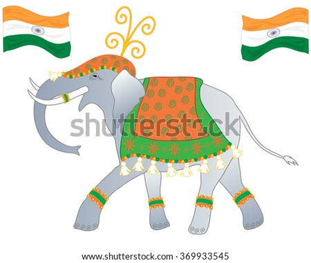 an illustration of an elephant dressed up in the colors of the indian flag to celebrate republic day on a white background - stock photo