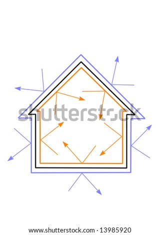An illustration of an energy efficient house with cold being reflected out and heat kept in. - stock photo