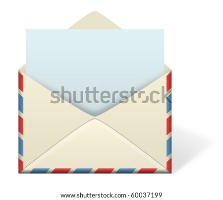 An illustration of an envelope open with an emerging piece of paper or letter coming out from inside the envelope. Add your own text or message to the paper.