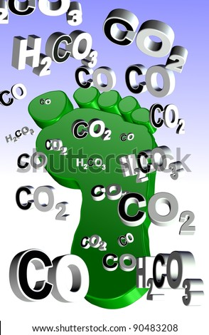 An illustration of an expression, carbon footprint and carbon compounds coming from it / Carbon footprint - stock photo
