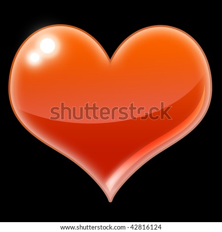 An illustration of an red heart on a black background. - stock photo