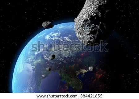 An illustration of asteroids approaching Earth. Earth land and clouds texture maps courtesy of NASA - stock photo