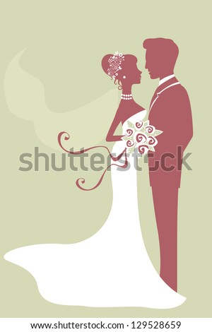An illustration of beautiful bride and groom just married - stock photo