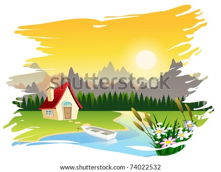 An illustration of beautiful summer scene landscape - stock photo